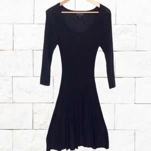 Vintage Ribbed Little Black Work Sweater Dress S